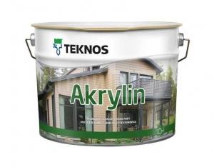 Краска водоразбавляемая для деревянных фасадов TEKNOS Akrylin Белая полуматовая 9 л