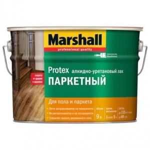 Лак паркетный алкидно-уретановый  Marshall Protex полуматовый 9 л