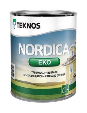 Краска водоразбавляемая для домов Teknos Nordica Eko Белая глянцевая 0,9 л