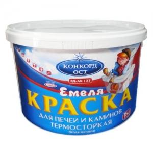 Краска для печей и каминов ВД-АК-127  Емеля , термостойкая, белая 3кг