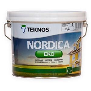Краска водоразбавляемая для домов Teknos Nordica Eko Белая глянцевая 9 л