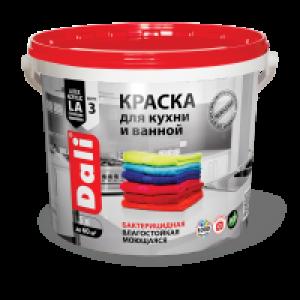 Краска латексная для кухни и ванной влагостойкая биозащитная белая матовая  DALI 9 л