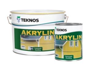 Краска водоразбавляемая для деревянных фасадов TEKNOS Akrylin Белая полуматовая 2,7 л