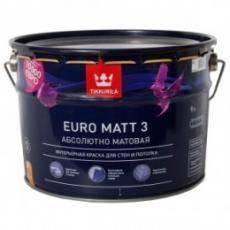 Краска латексная для стен и потолков Tikkurila Euro Matt 3 Белая глубокоматовая, 9 л