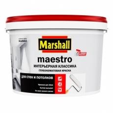 Краска водно-дисперсионная для стен и потолков Marshall Maestro Интерьерная классика Белая глубокоматовая 2,5 л