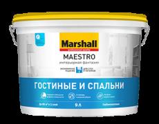 Краска водно-дисперсионная для стен и потолков Marshall Maestro Интерьерная фантазия Белая глубокоматовая 2,5 л