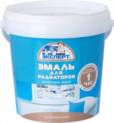 Эмаль акриловая для радиаторов и приборов отопления полуматовая белая, Эксперт 1 кг