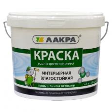 Краска акриловая для стен и потолков Лакра Интерьерная влагостойкая повышенной белизны Белая матовая 14 кг